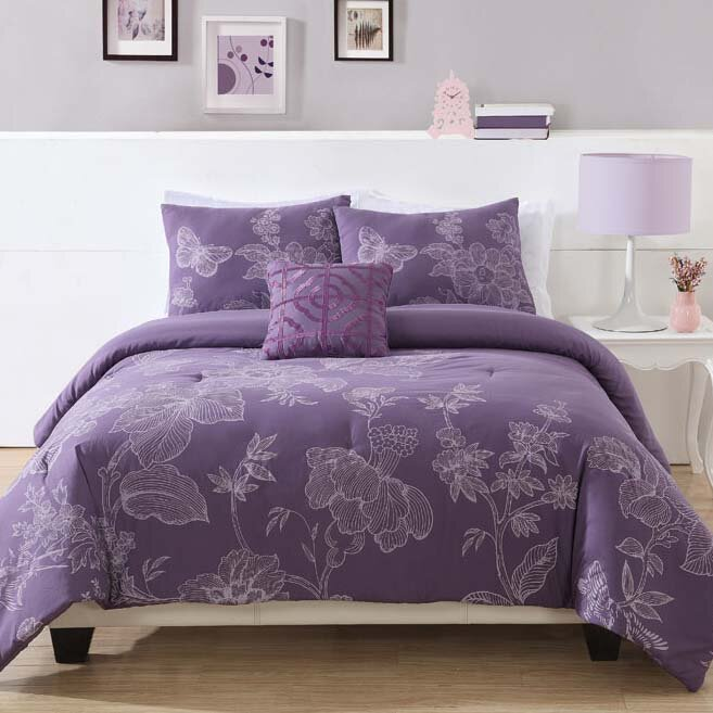 purple floral bedding
