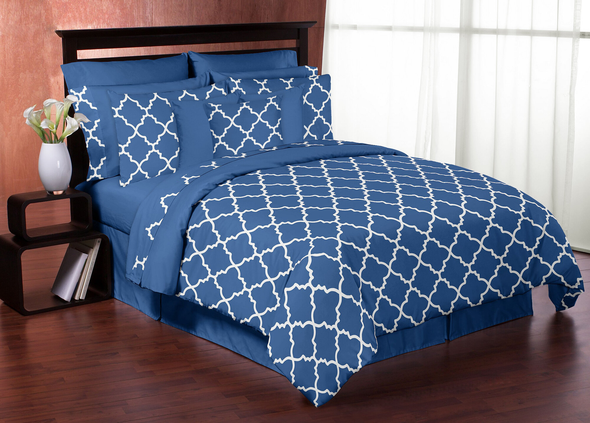 and sets comforter bedding blue white ruffle queen bed target