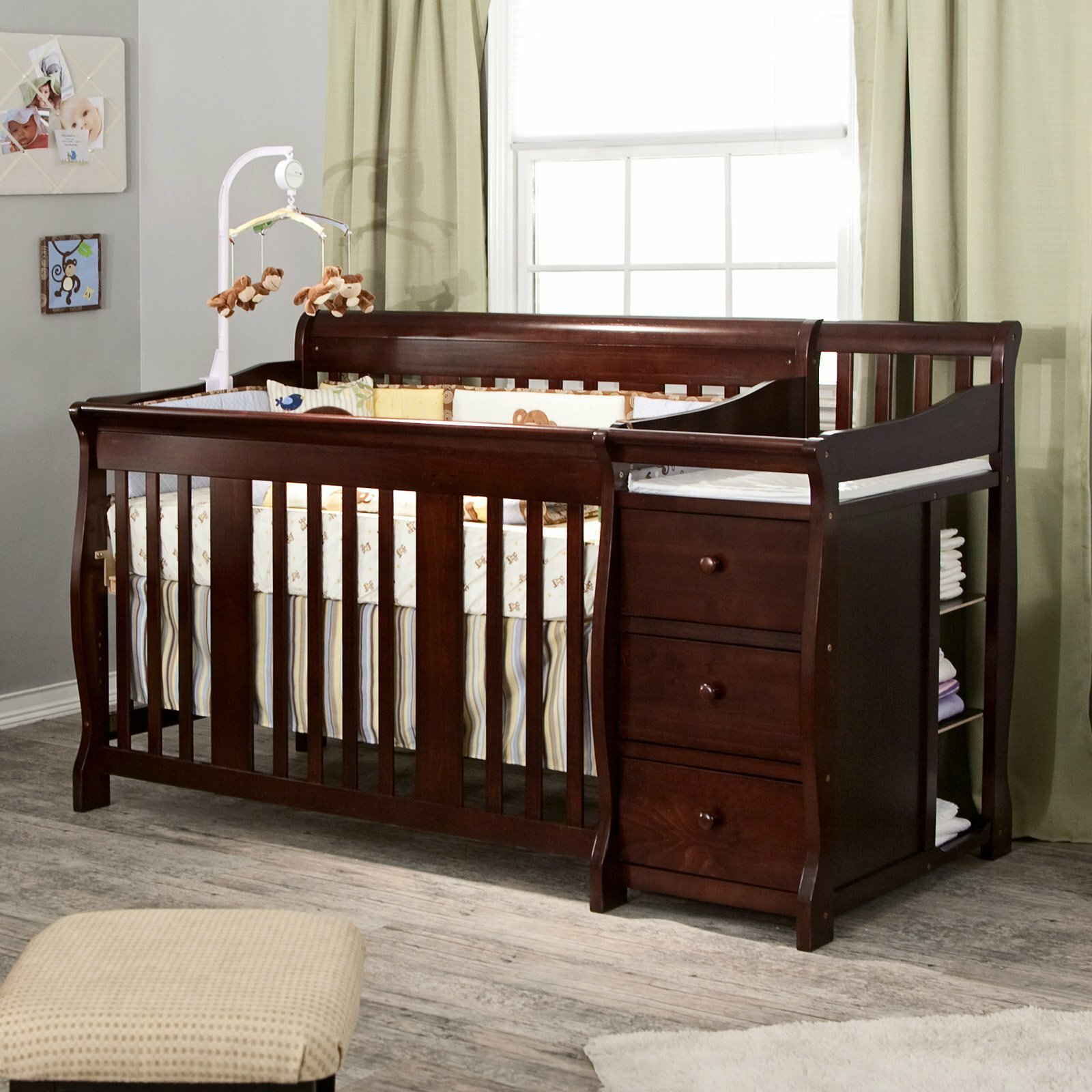 4 in 1 side convertible crib changer nursery furniture for Baby furniture