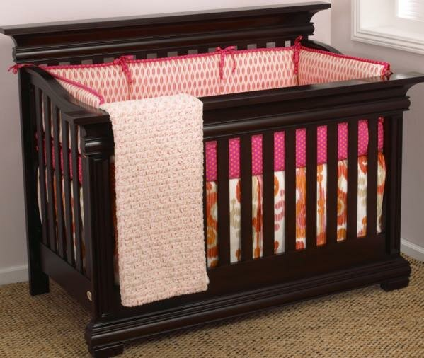 pink orange baby bedding