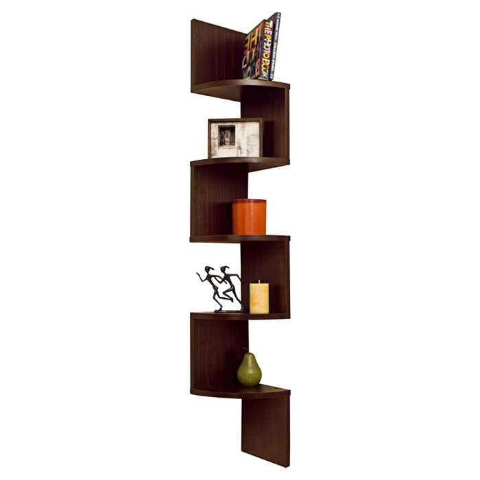 New modern corner shelves wall mount shelf set hang zig for Modern corner bookshelf