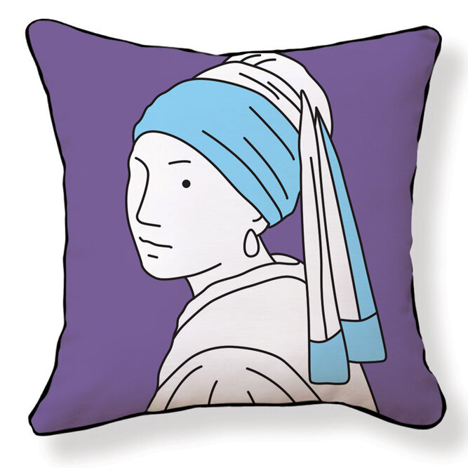 Naked decor girl with pearl earring pillow