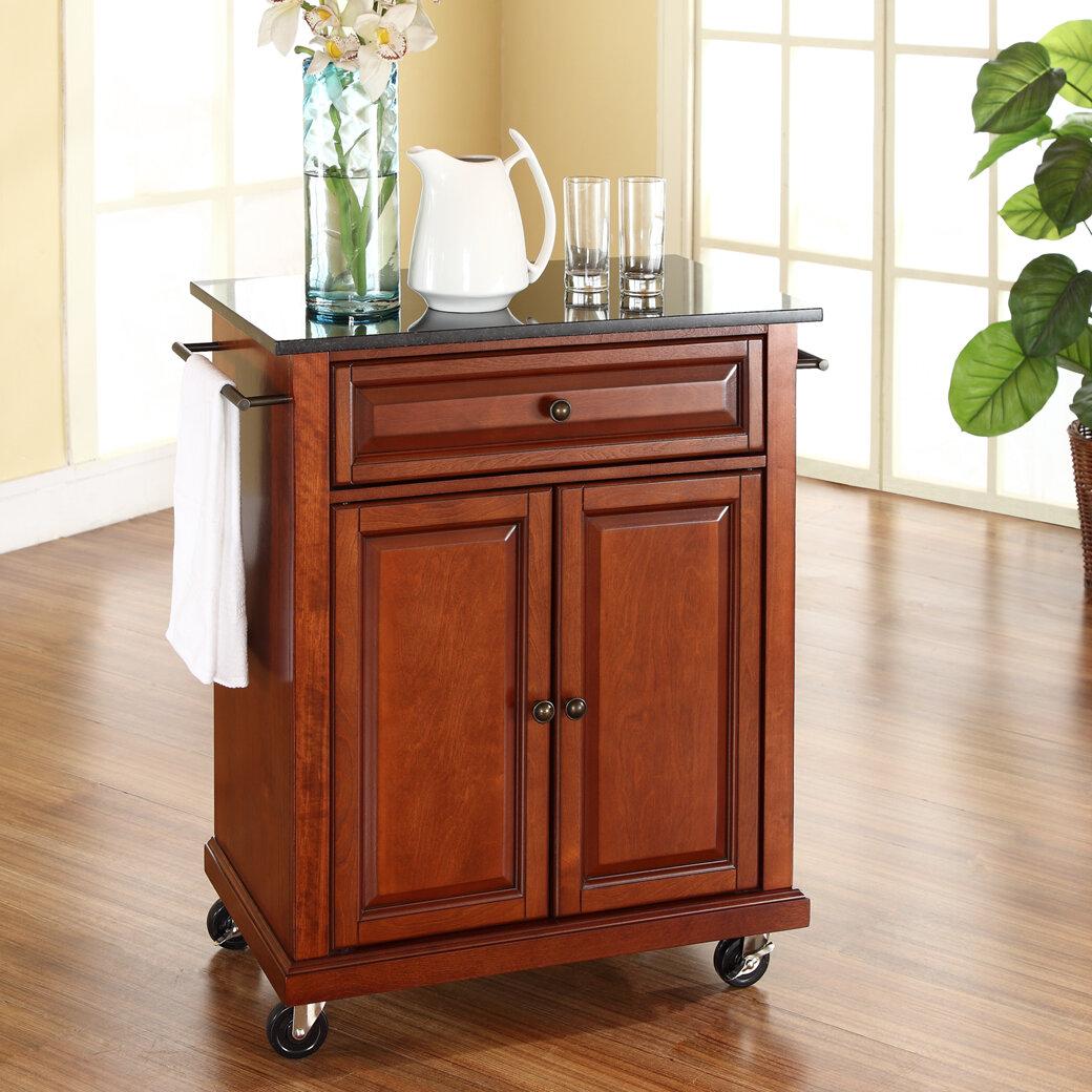 Kitchen Cart Wood Rolling Island Storage Locking Caster Wheels Granite Top Ebay