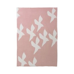 Birds Petal Graphic Knit Blanket