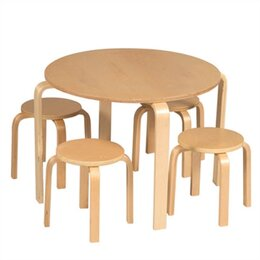 Primary Natural Table & Stool Set