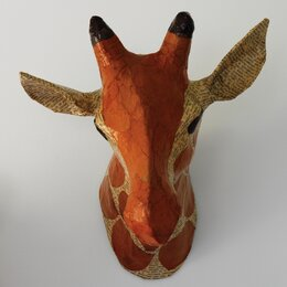 Giraffe Natural Papier-Mâché Head Wall Décor