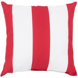 Awning Stripe Crimson Outdoor Pillow