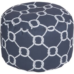 Rope Trellis Navy Outdoor Pouf