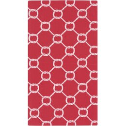 Rope Trellis Crimson Outdoor Rug