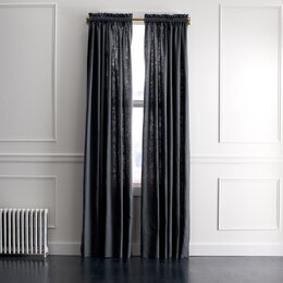 Linen Slub Curtain Panel in Charcoal