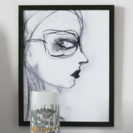 Charcoal Girl With Glasses Artwork