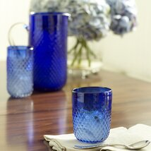 Hobnail Stemless Glasses, Blue (Set of 4)