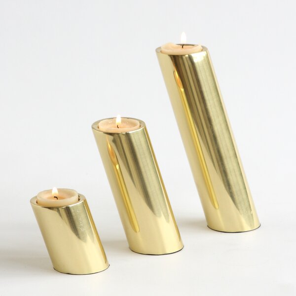 DwellStudio 3 Piece Slanted Brass Candleholders