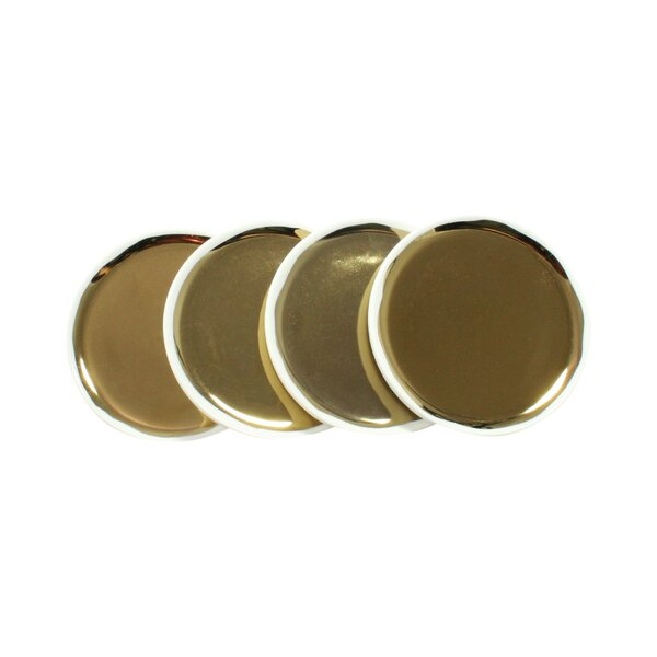 DwellStudio Marais Gold Tidbit Plates (Set of 4)