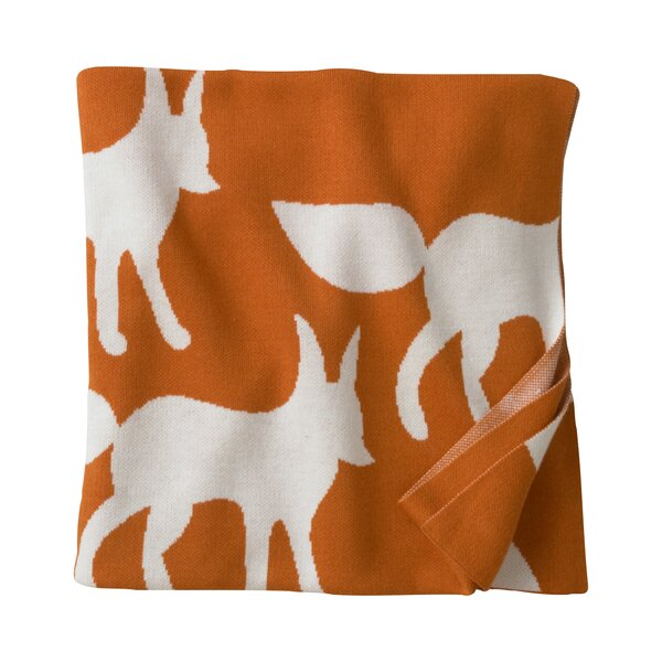 DwellStudio Foxes Orange Graphic Knit Blanket