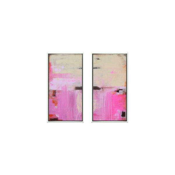 DwellStudio 2 Piece Abstract Oceana Pink Diptych Set