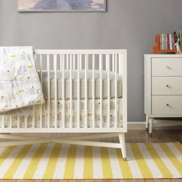 DwellStudio Skyline Light Blue Canvas Crib Skirt