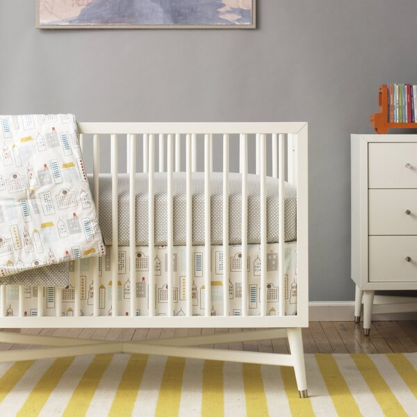 DwellStudio Skyline Light Blue Percale Crib Skirt