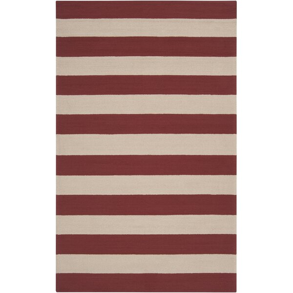 DwellStudio Draper Stripe Cranberry Outdoor Rug