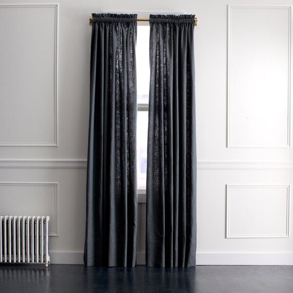 DwellStudio Linen Slub Curtain Panel in Charcoal