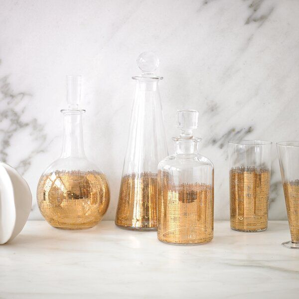 DwellStudio Crosshatch Cylinder Gold Decanter
