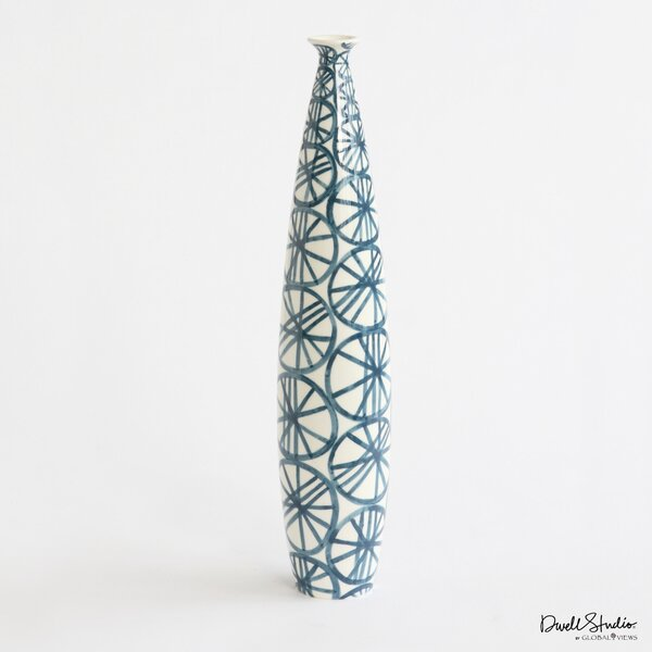 DwellStudio Blue Wheels Tall Skinny Vase
