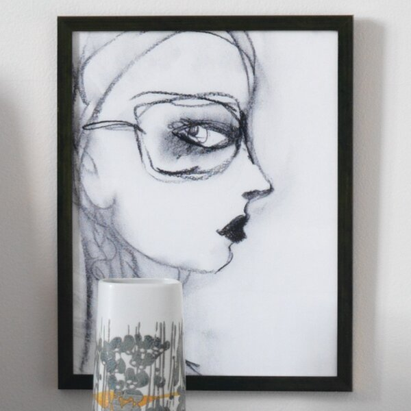 DwellStudio Charcoal Girl With Glasses Artwork