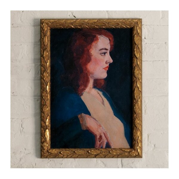 DwellStudio Vintage Lady Red Head Artwork