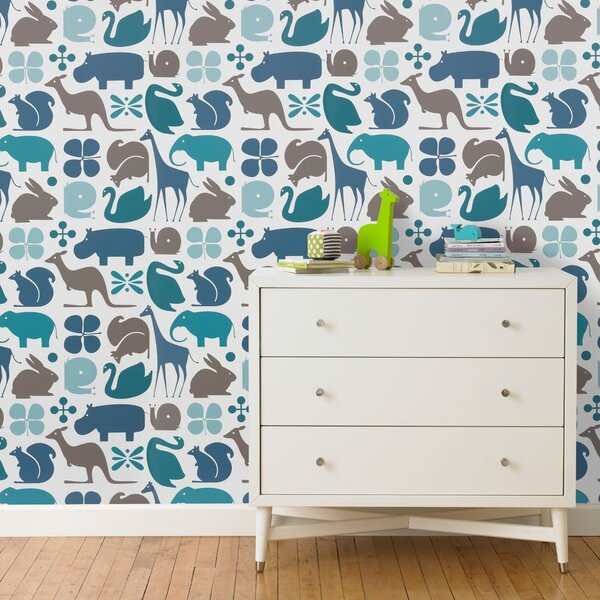 DwellStudio Gio Aqua Wallpaper