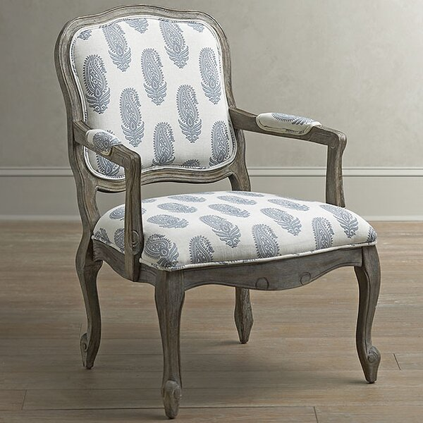 Birch Lane Stratton Arm Chair, Blue Paisley