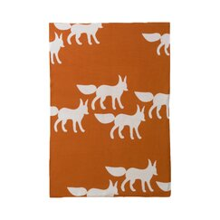 <strong></strong> Foxes Orange Graphic Knit Blanket
