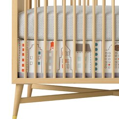 <strong></strong> Skyline Light Blue Canvas Crib Skirt