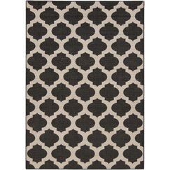 Modern Trellis Ink Outdoor Rug