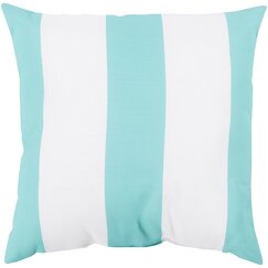 <strong></strong> Awning Stripe Aqua Outdoor Pillow
