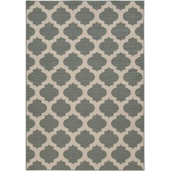 <strong>Modern Trellis Pewter Outdoor Rug</strong>
