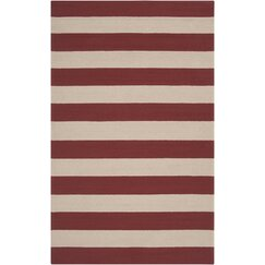 Draper Stripe Cranberry Outdoor Rug