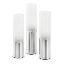 <strong></strong> Faro Small Stainless Steel Frosted Glass Hurricane (Set of 3)
