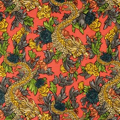 Ming Dragon Fabric - Persimmon