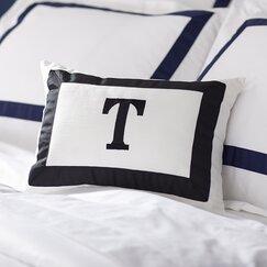 Celina Monogram Pillow, Black & White