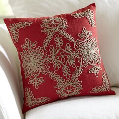 Mia Embroidered Pillow Cover, Red