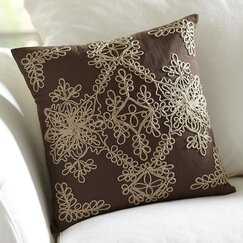 Mia Embroidered Pillow Cover, Chocolate