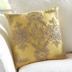 Mia Embroidered Pillow Cover, Canary