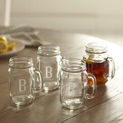 Monogrammed Drinking Jars with Handles (Set of 4)