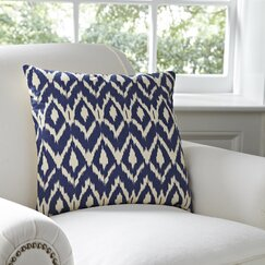 Tara Ikat Cotton Pillow Cover, Navy