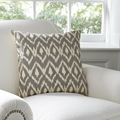 Tara Ikat Cotton Pillow Cover, Pewter