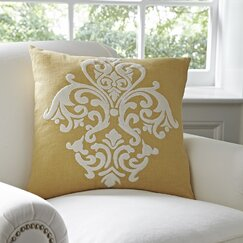 Leah Cotton Pillow Cover, Mustard & White