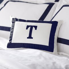 Celina Monogram Pillow, Navy & White
