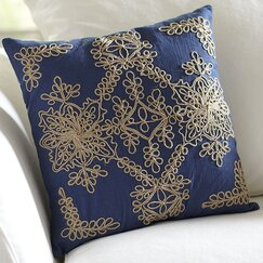 Mia Embroidered Pillow Cover, Blue