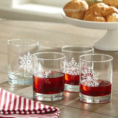 Snowflake Etched Lowball Glasses (Set of 4)