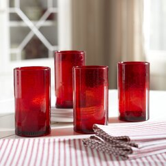 Cerise Old-Fashioned Highball Glasses (Set of 4)